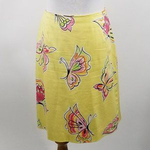 Talbots Petites Stretch A-Line Bright Yellow Skirt